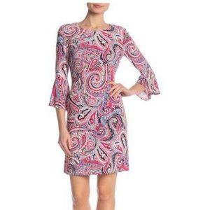 Tommy Hilfiger Paisley Print Bell Sleeve Dress